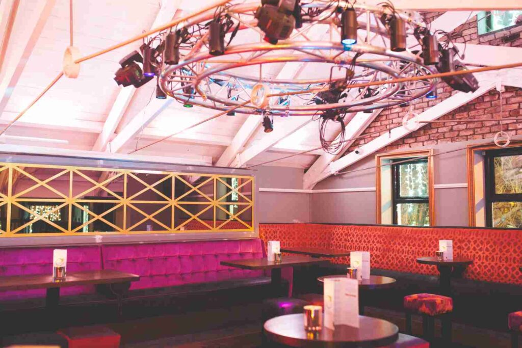 Seating at upstairs dancefloor
