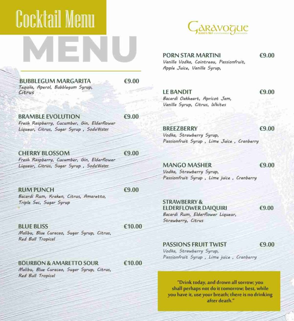 garavogue cocktail menu